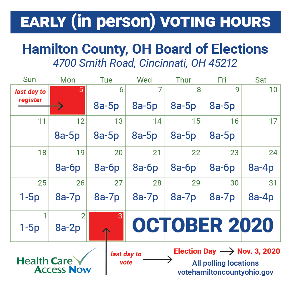 Hamilton County, OH, early in person voting hours